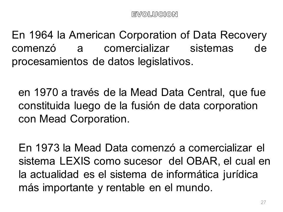 EVOLUCION En 1964 la American Corporation of Data Recovery comenzó a comercializar sistemas de procesamientos de datos legislativos.
