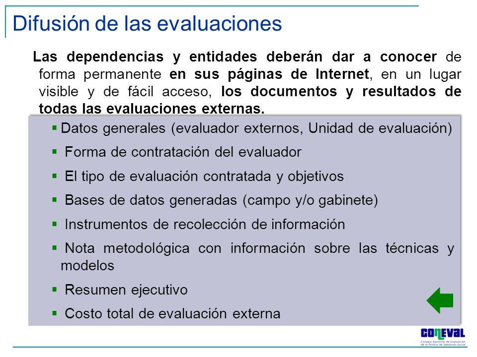 Difusión de las evaluaciones