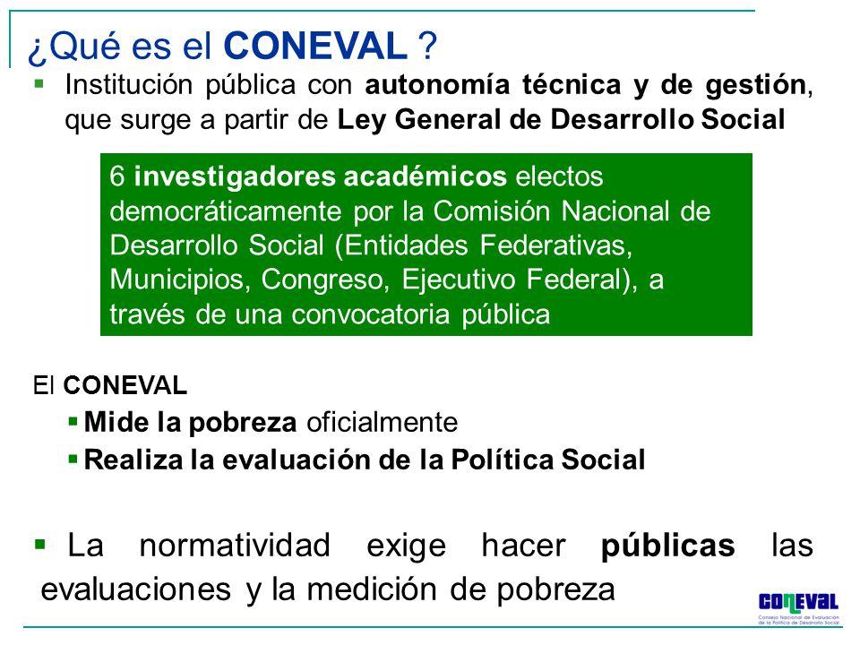 ¿Qué es el CONEVAL Institución pública con autonomía técnica y de gestión, que surge a partir de Ley General de Desarrollo Social.