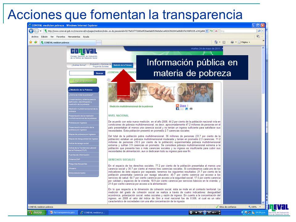 Información pública en materia de pobreza