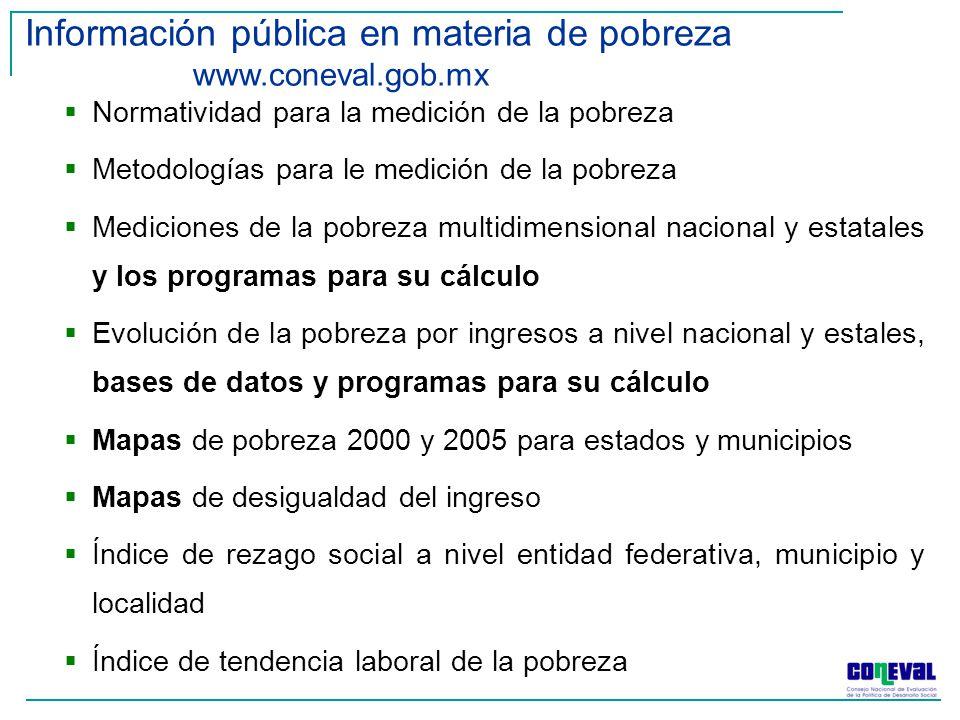 Información pública en materia de pobreza www.coneval.gob.mx