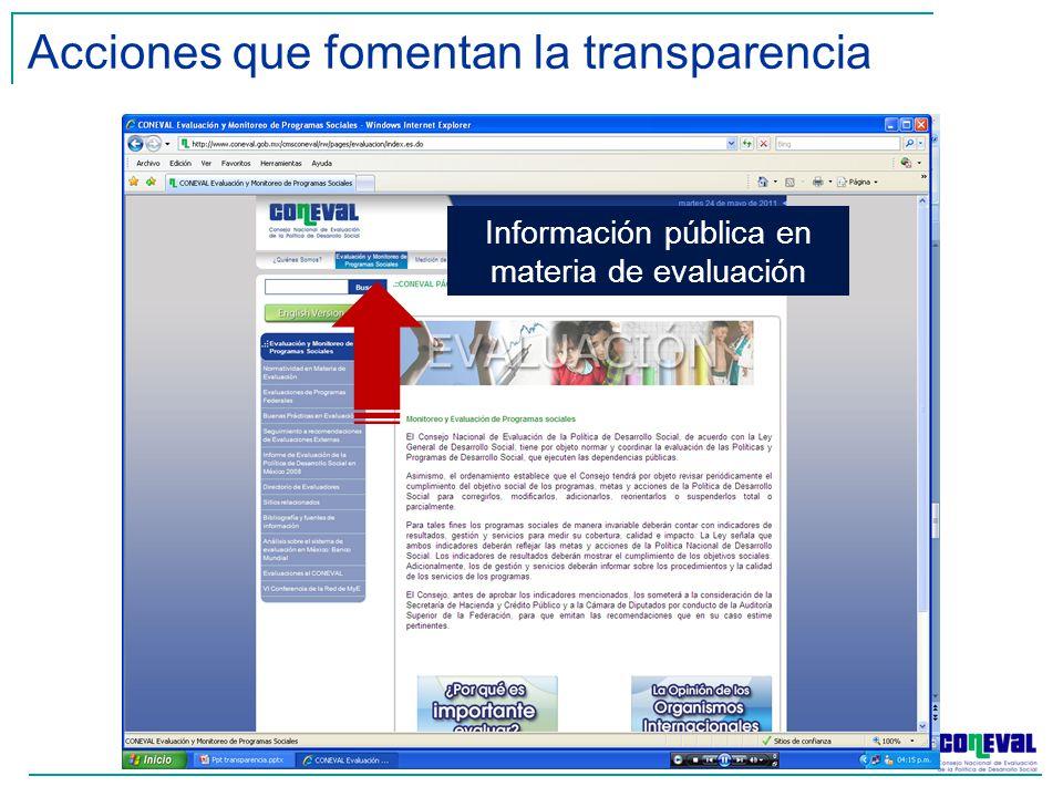 Información pública en materia de evaluación