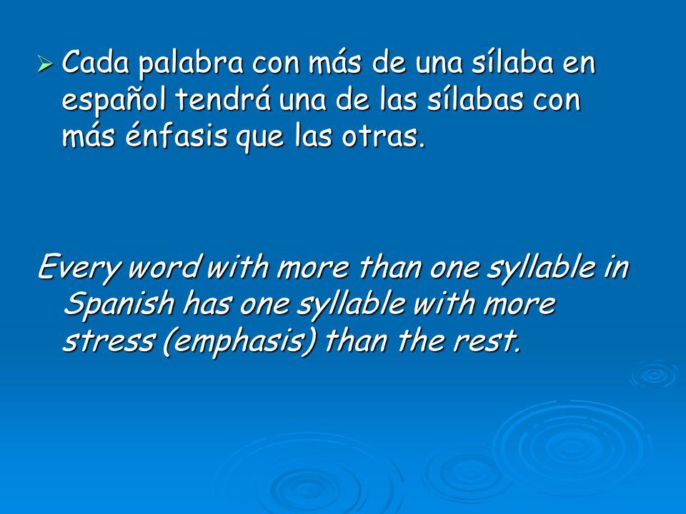 Cada palabra con más de una sílaba en español tendrá una de las sílabas con más énfasis que las otras.