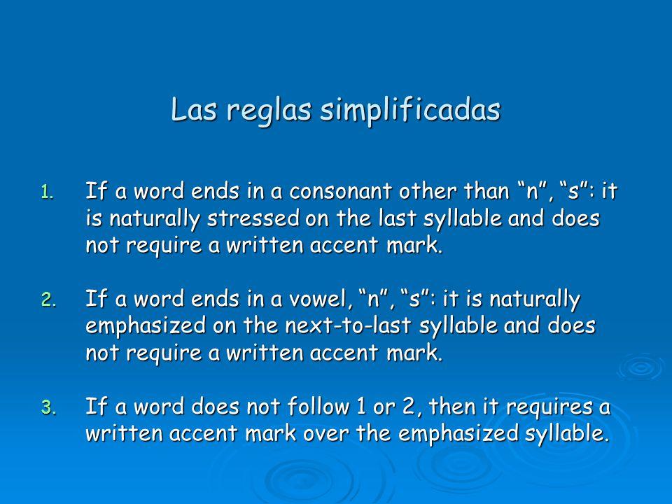 Las reglas simplificadas