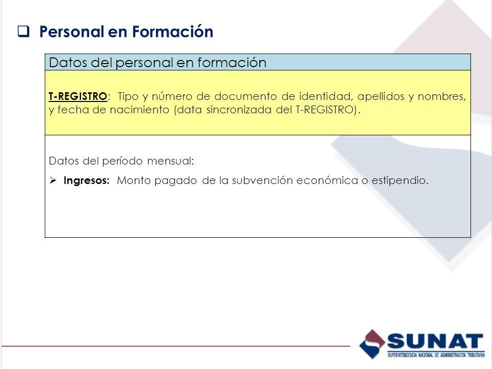 Personal en Formación Datos del personal en formación