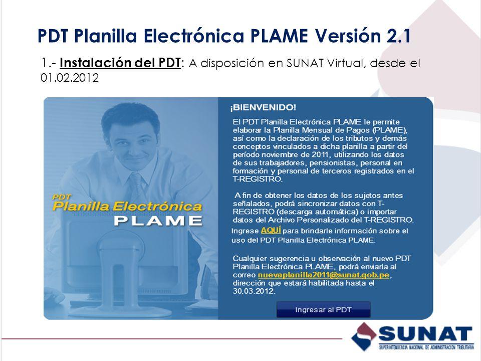 PDT Planilla Electrónica PLAME Versión 2.1