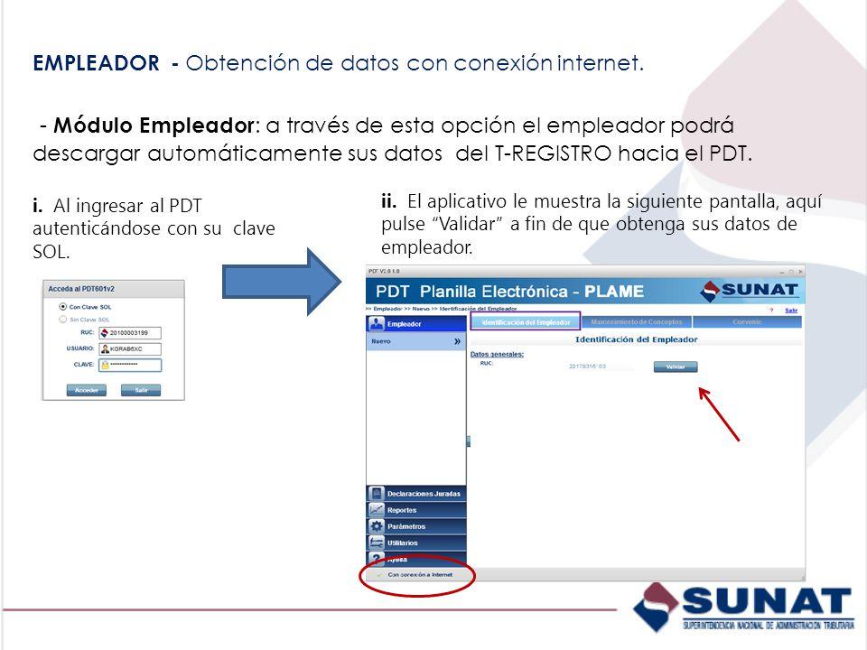 EMPLEADOR - Obtención de datos con conexión internet.