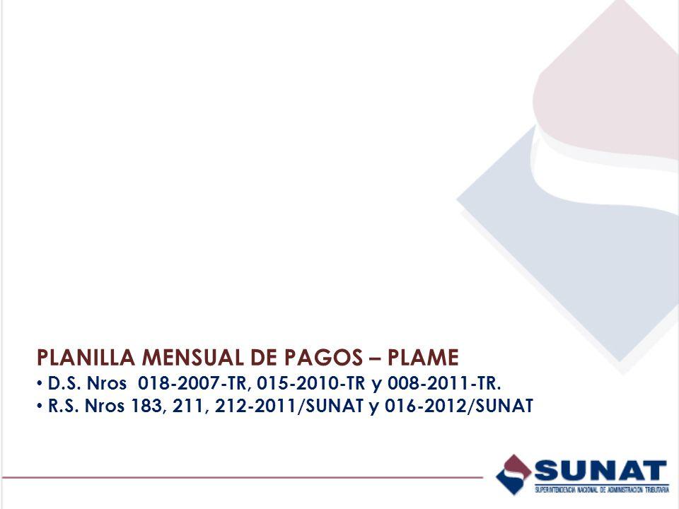PLANILLA MENSUAL DE PAGOS – PLAME
