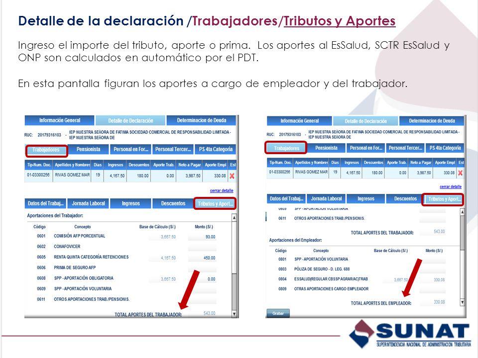 Detalle de la declaración /Trabajadores/Tributos y Aportes