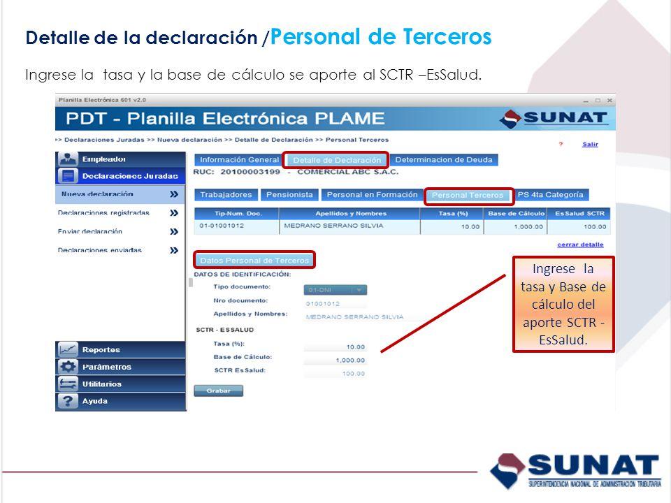 Ingrese la tasa y Base de cálculo del aporte SCTR - EsSalud.