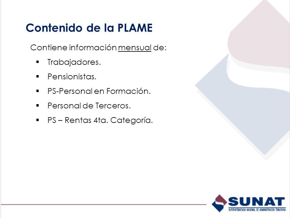 Contenido de la PLAME Contiene información mensual de: Trabajadores.