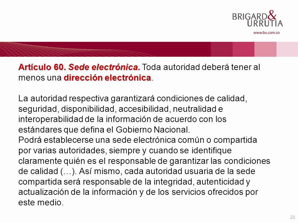 Artículo 60. Sede electrónica