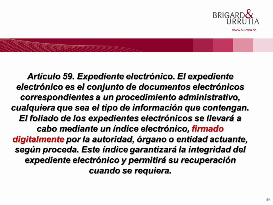 Artículo 59. Expediente electrónico
