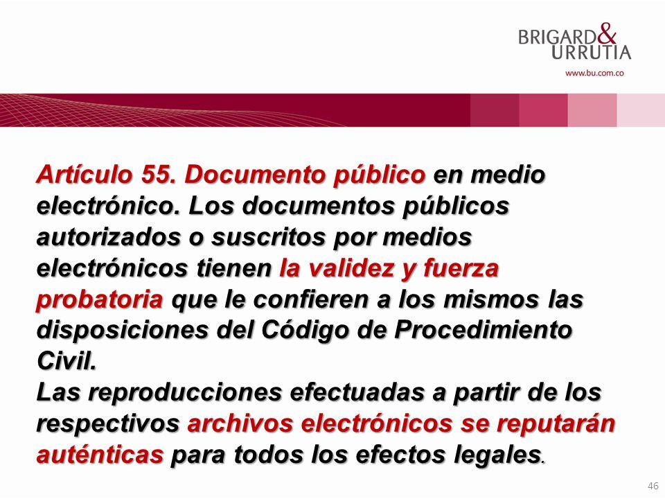 Artículo 55. Documento público en medio electrónico