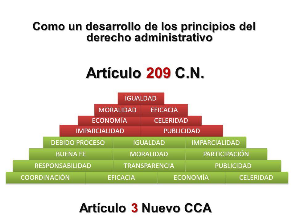 Como un desarrollo de los principios del derecho administrativo