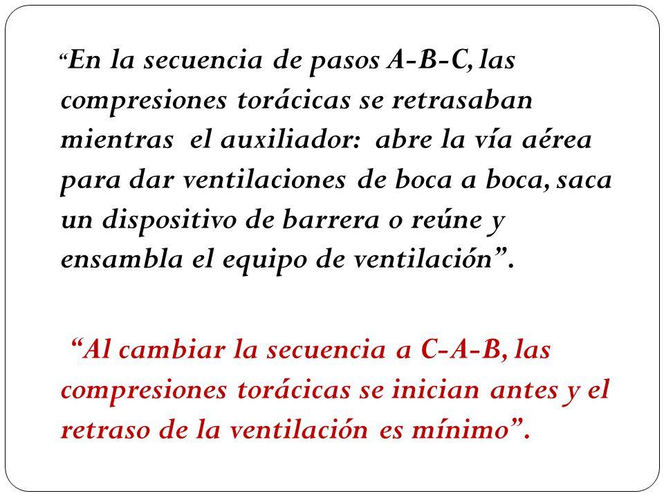 En la secuencia de pasos A-B-C, las compresiones torácicas se retrasaban mientras el auxiliador: abre la vía aérea para dar ventilaciones de boca a boca, saca un dispositivo de barrera o reúne y ensambla el equipo de ventilación .