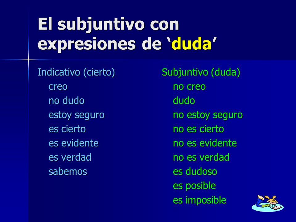 El subjuntivo con expresiones de 'duda'