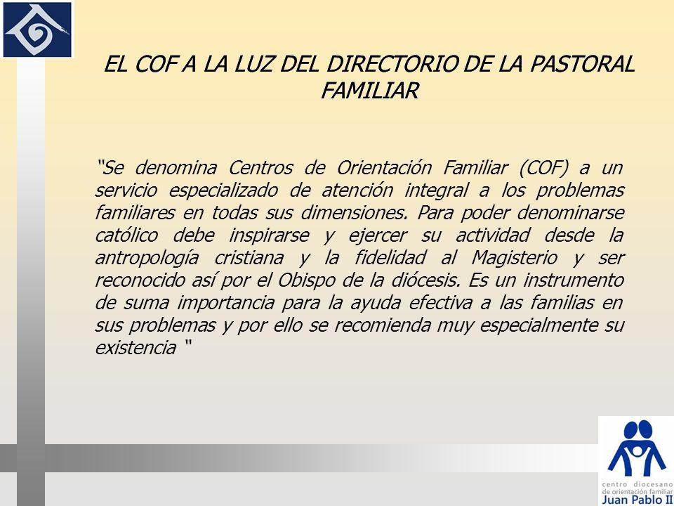 EL COF A LA LUZ DEL DIRECTORIO DE LA PASTORAL FAMILIAR