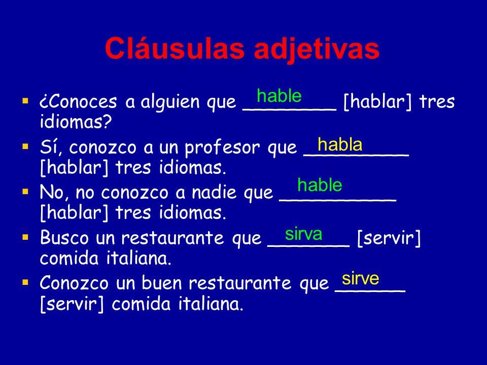 Cláusulas adjetivas hable
