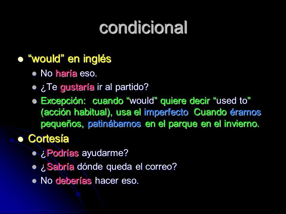 condicional would en inglés Cortesía No haría eso.