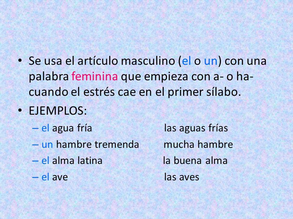 Se usa el artículo masculino (el o un) con una palabra feminina que empieza con a- o ha- cuando el estrés cae en el primer sílabo.