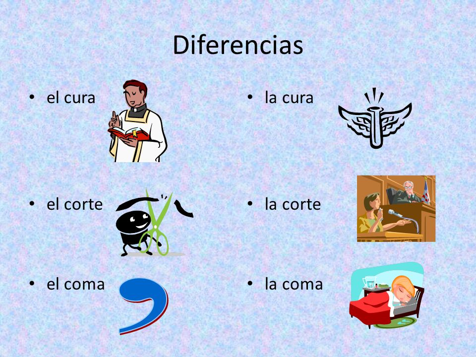 Diferencias el cura el corte el coma la cura la corte la coma ,