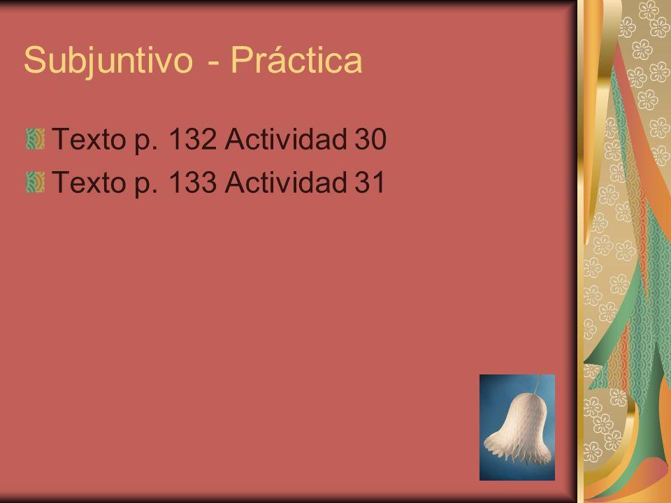 Subjuntivo - Práctica Texto p. 132 Actividad 30