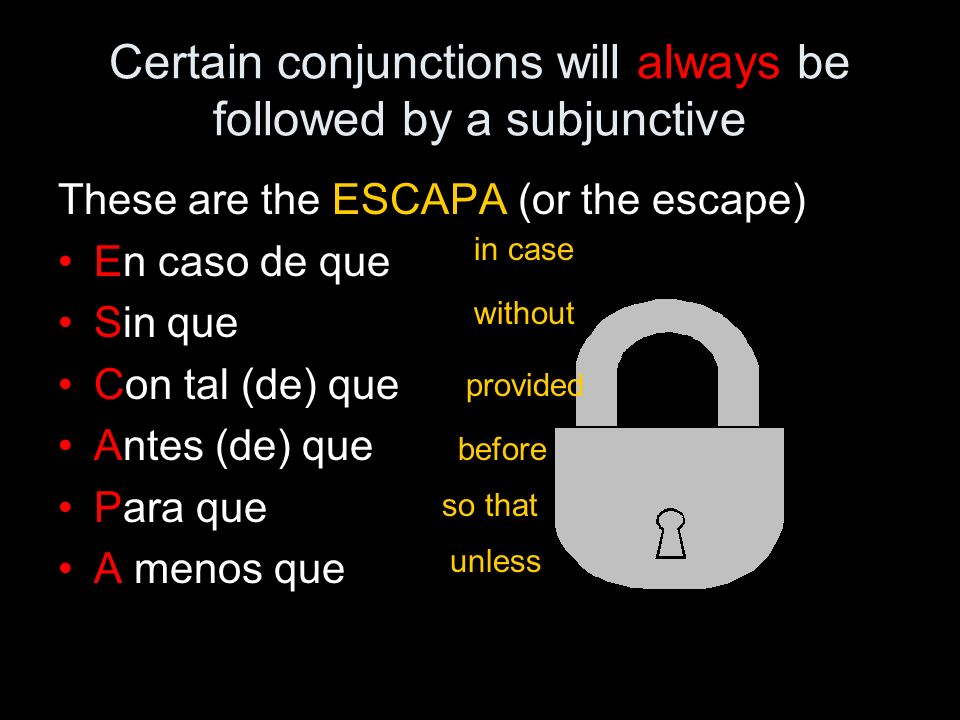 Certain conjunctions will always be followed by a subjunctive