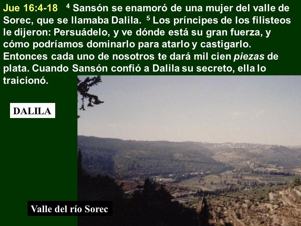 Jue 16:4-18 4 Sansón se enamoró de una mujer del valle de Sorec, que se llamaba Dalila. 5 Los príncipes de los filisteos le dijeron: Persuádelo, y ve dónde está su gran fuerza, y cómo podríamos dominarlo para atarlo y castigarlo. Entonces cada uno de nosotros te dará mil cien piezas de plata. Cuando Sansón confió a Dalila su secreto, ella lo traicionó.