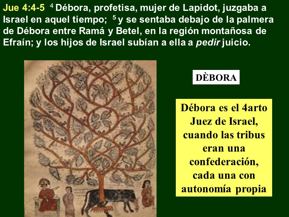 Jue 4:4-5 4 Débora, profetisa, mujer de Lapidot, juzgaba a Israel en aquel tiempo; 5 y se sentaba debajo de la palmera de Débora entre Ramá y Betel, en la región montañosa de Efraín; y los hijos de Israel subían a ella a pedir juicio.