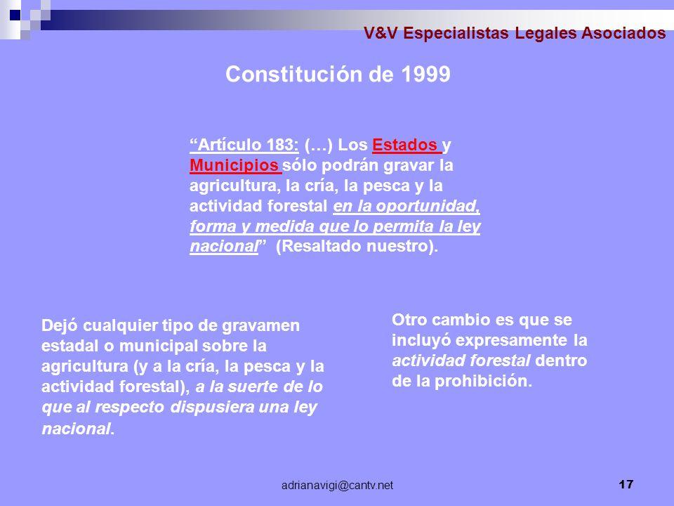 Constitución de 1999 V&V Especialistas Legales Asociados