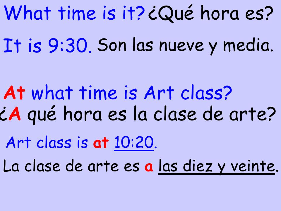 At what time is Art class ¿A qué hora es la clase de arte