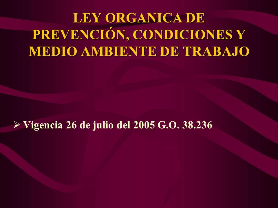 LEY ORGANICA DE PREVENCIÓN, CONDICIONES Y MEDIO AMBIENTE DE TRABAJO
