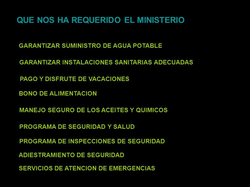 QUE NOS HA REQUERIDO EL MINISTERIO