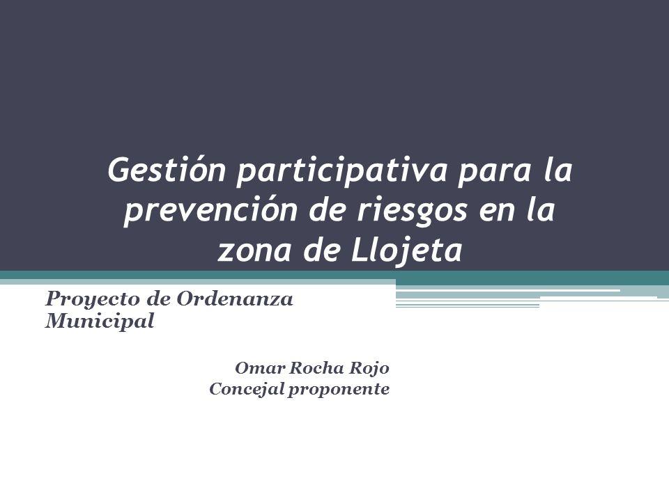 Proyecto de Ordenanza Municipal Omar Rocha Rojo Concejal proponente