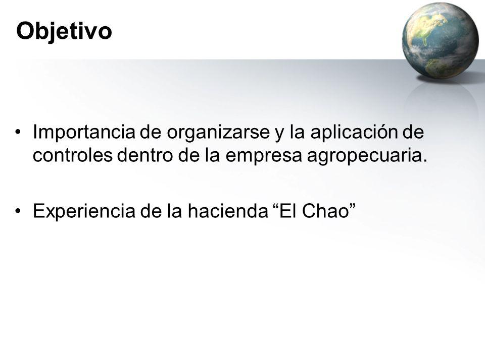 Objetivo Importancia de organizarse y la aplicación de controles dentro de la empresa agropecuaria.