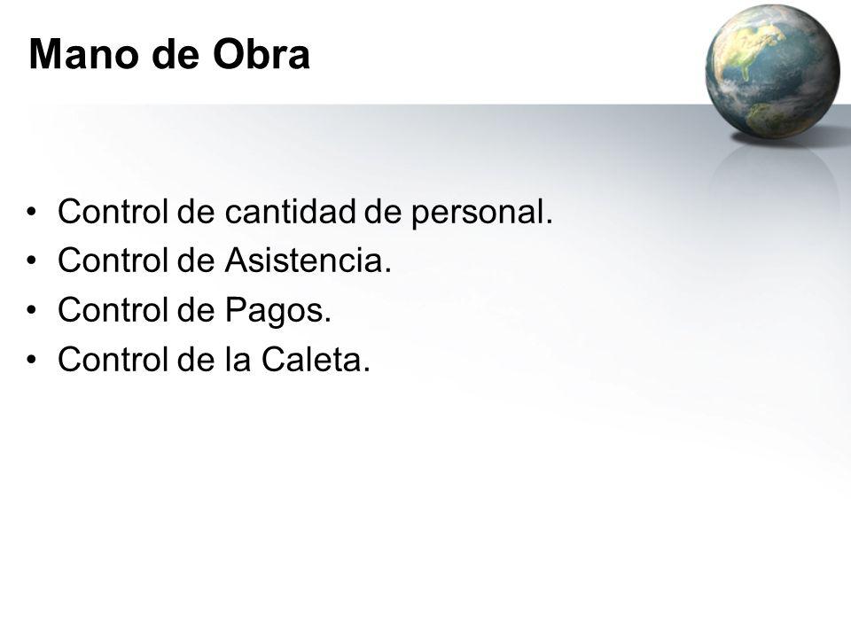 Mano de Obra Control de cantidad de personal. Control de Asistencia.