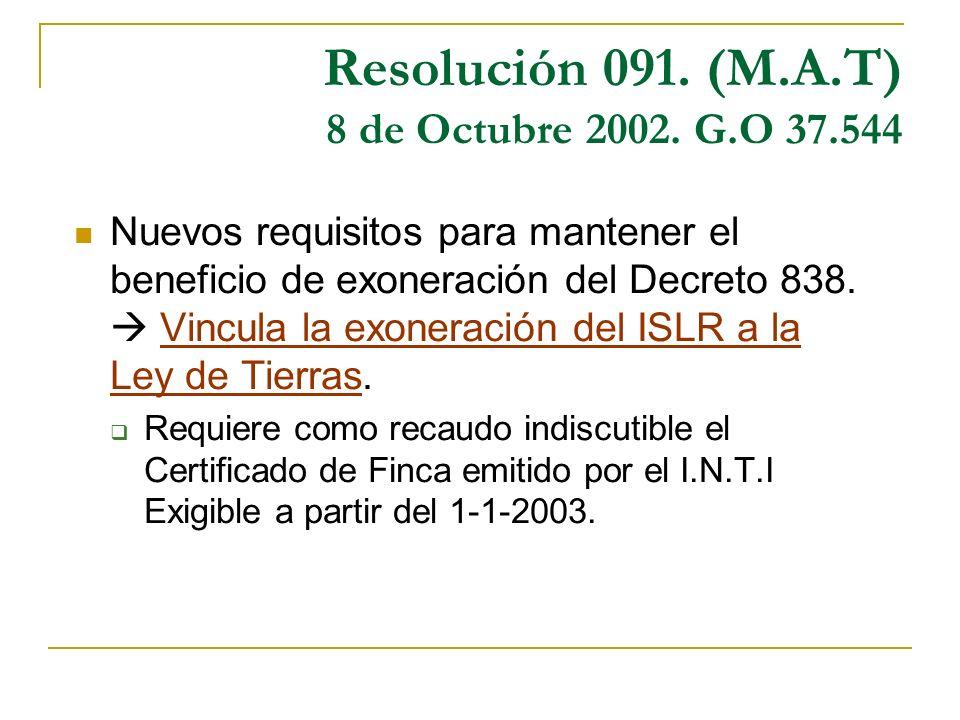 Resolución 091. (M.A.T) 8 de Octubre 2002. G.O 37.544