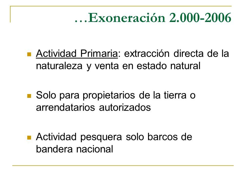 …Exoneración 2.000-2006 Actividad Primaria: extracción directa de la naturaleza y venta en estado natural.