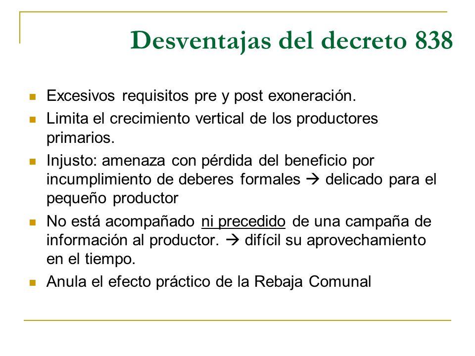Desventajas del decreto 838