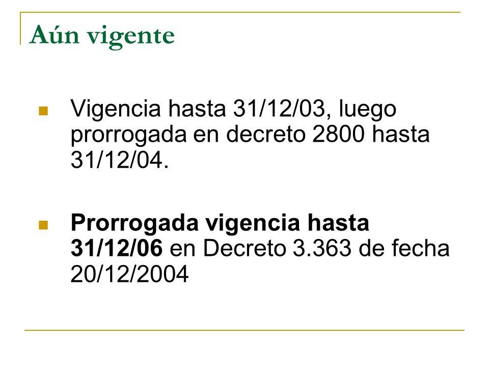 Aún vigente Vigencia hasta 31/12/03, luego prorrogada en decreto 2800 hasta 31/12/04.