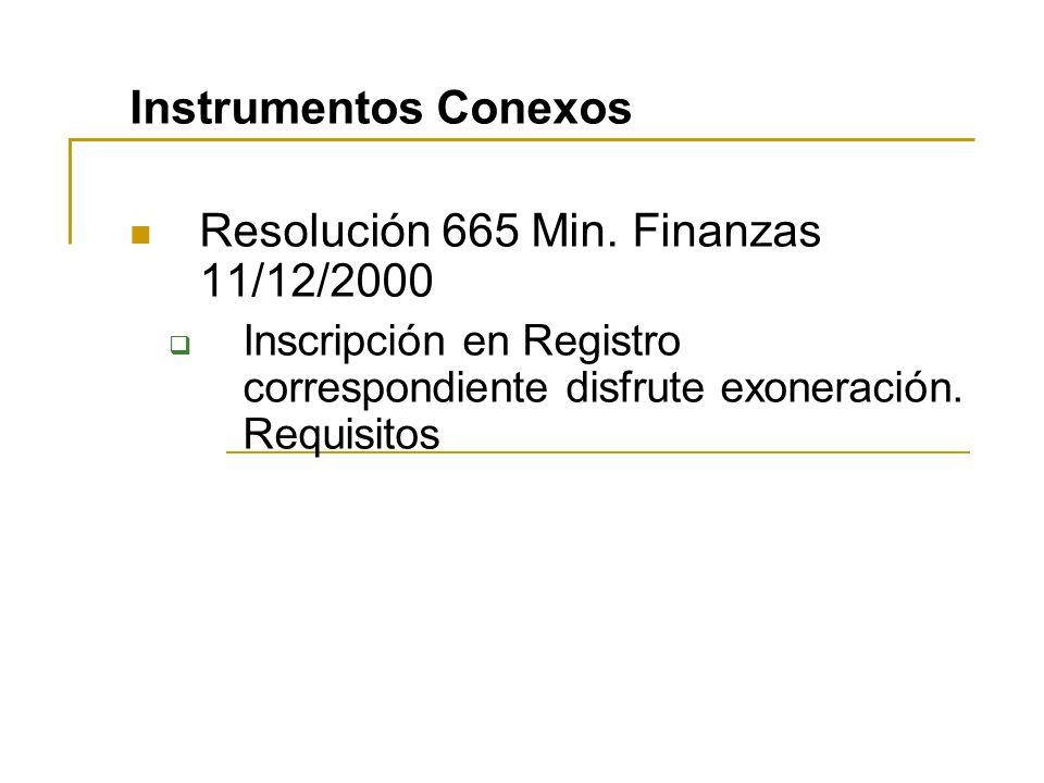 Resolución 665 Min. Finanzas 11/12/2000
