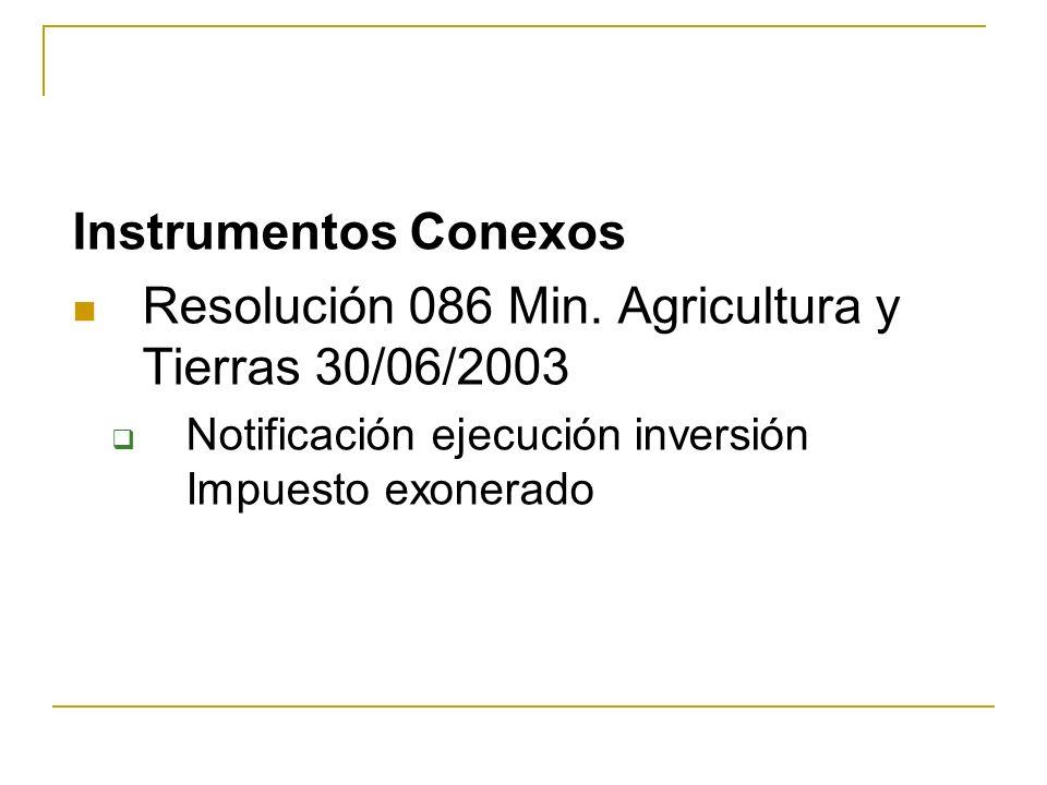 Resolución 086 Min. Agricultura y Tierras 30/06/2003