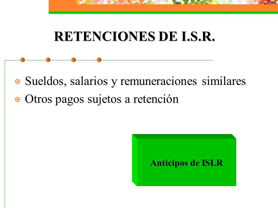 RETENCIONES DE I.S.R. Sueldos, salarios y remuneraciones similares