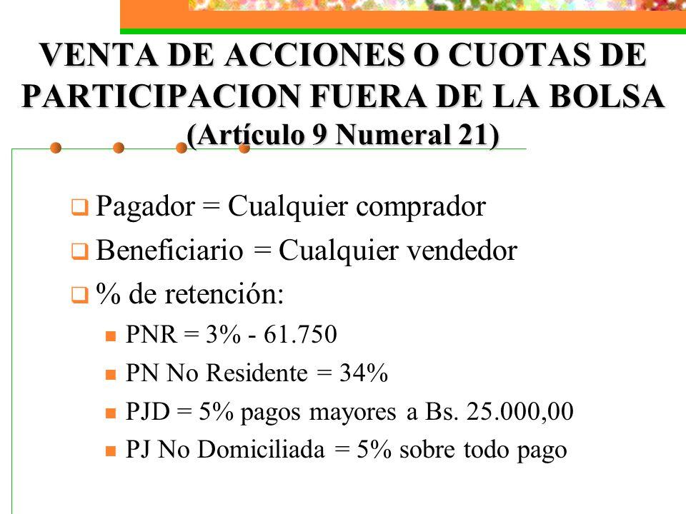 VENTA DE ACCIONES O CUOTAS DE PARTICIPACION FUERA DE LA BOLSA (Artículo 9 Numeral 21)