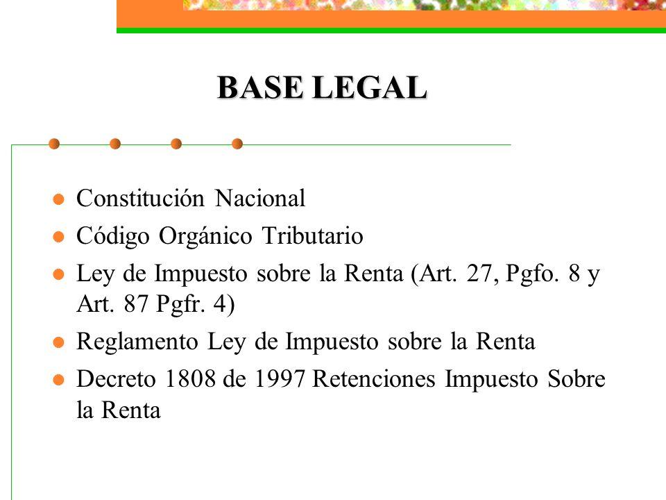 BASE LEGAL Constitución Nacional Código Orgánico Tributario