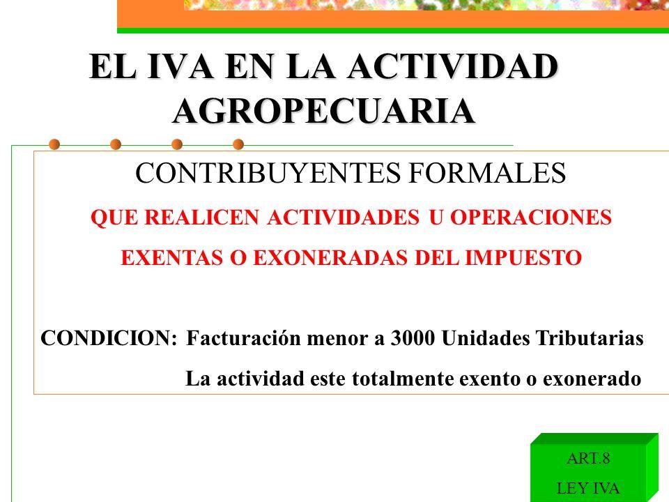 EL IVA EN LA ACTIVIDAD AGROPECUARIA