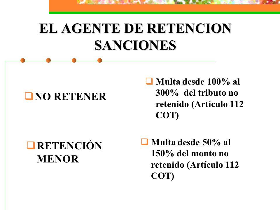 EL AGENTE DE RETENCION SANCIONES