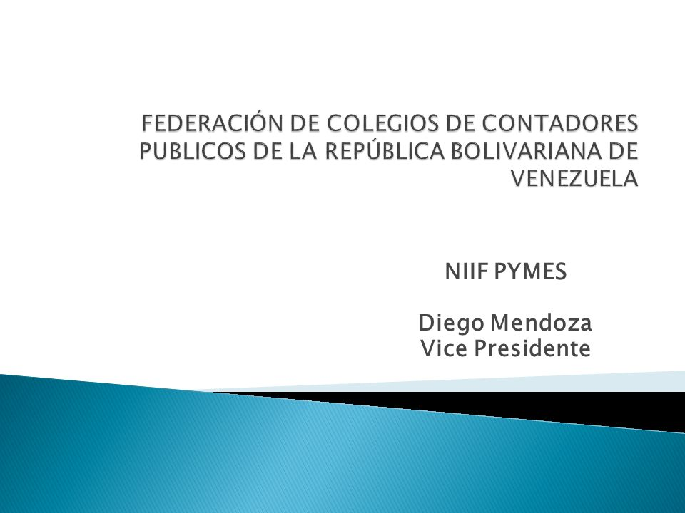 NIIF PYMES Diego Mendoza Vice Presidente