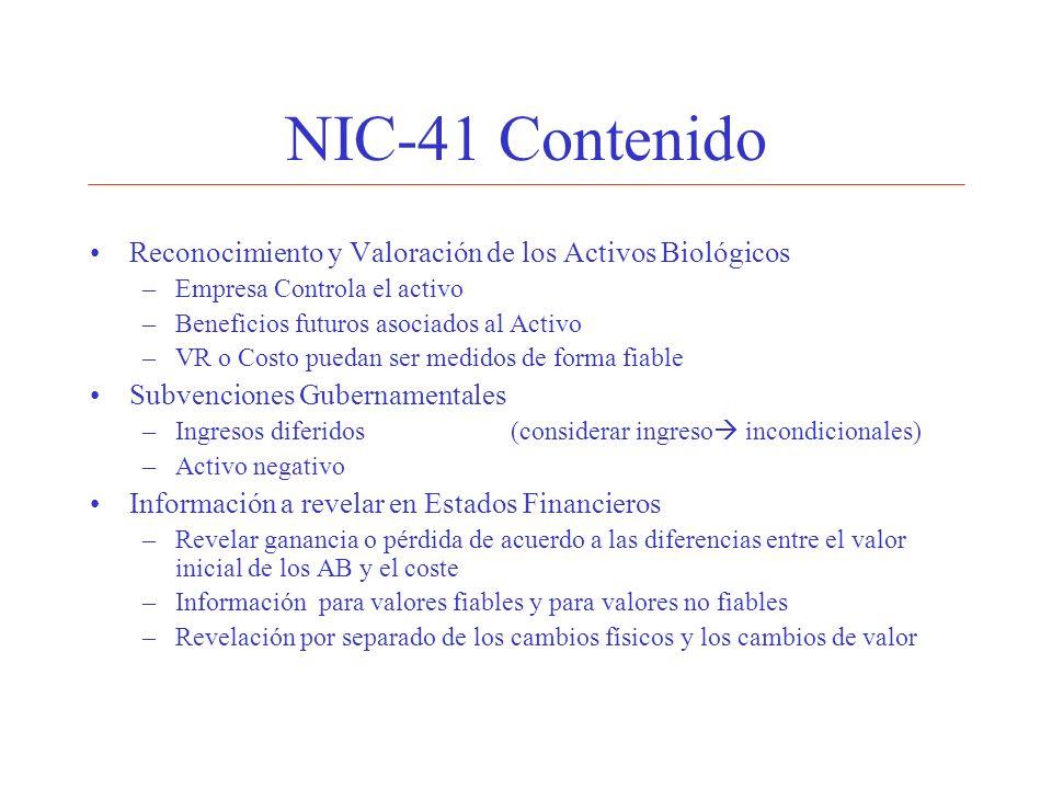 NIC-41 Contenido Reconocimiento y Valoración de los Activos Biológicos